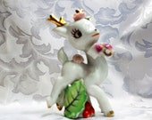 Ceramic Reindeer Gold Antlers Purple Bow Pink Flowers and Holly Made in Japan