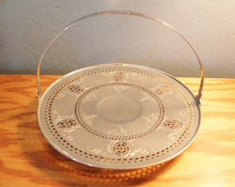 Vintage Landers Frary & Clark Silver reticulated Round tray with handle