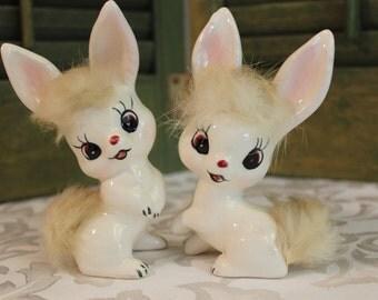 Vintage Rabbit Figurine, 1960's Norcrest Bunny Figurines