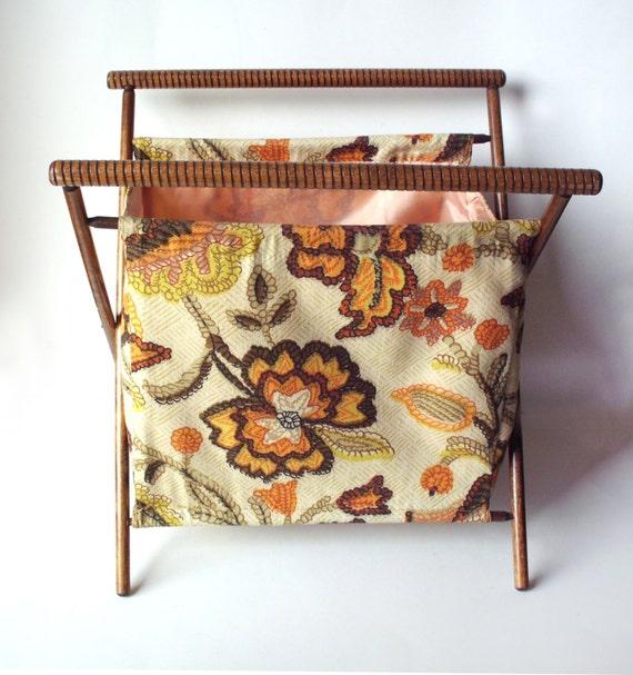 Vintage Folding Knitting Basket : Vintage folding knitting needlework basket tote