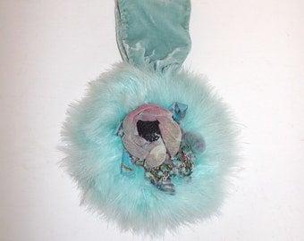 Vintage 20s 30s real marabou feather grab handbag round bag light turquoise fabric velvet flower detail