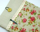 SALE - iPad Air case, iPad cover, iPad sleeve with 2 pockets, PADDED - Rose (214)