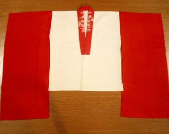 Vintage Toddler / Little Girl's Japanese Furisode Kimono Hanjuban Undergarment - Red Silk /Off White Cotton.