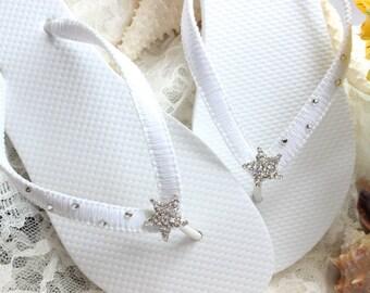 White bridal flip flops Starfish Flip Flops for Beach Weddings rhinestone flip flops bridal shoes wedding flip flops bridal flip flops