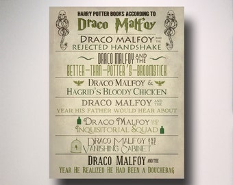 Typography Poster / Harry Potter Books According to Draco Malfoy / Minimalist Wall Art