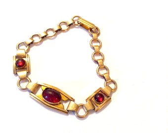 Antique Red Glass Link Bracelet Vintage Retro Fashion Jewelry