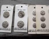 Celtic Knot Buttons - Silver Finish -  JHB International - Irish Scottish Welsh knotwork - styles 1421 & 1420