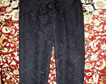 Black Satin Brocade Pants - Dress Barn - women's misses size 12 - goth Stevie Nicks witchy fancy