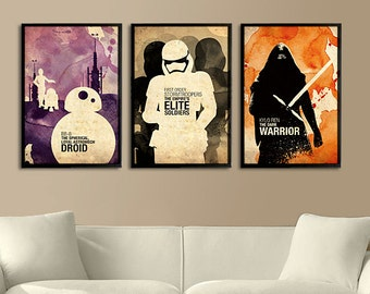 Vintage Watercolor Star Wars Collection (BB-8, Kylo Ren, First Order Stormtrooper) - Series 2 of 3 Posters Set