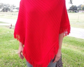 Beautiful Red Vintage Clothing Womans Poncho 1980s