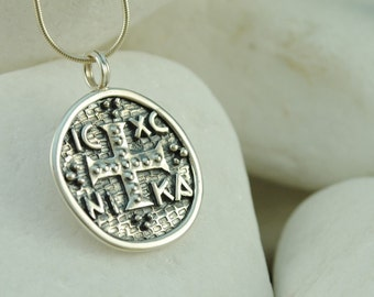 Byzantine Coin Cross/Pendant - Handmade, Solid Sterling Silver - FREE Shipping