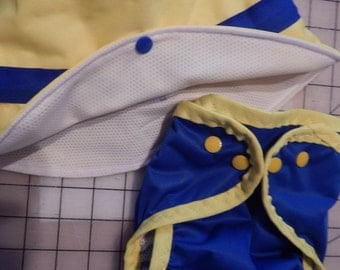 Swim Hat and Swim Diaper set, Toddler Beach Wear, Blue/Yellow Swim Diaper and Swim Hat Set, Reusable Swim Diaper and Swim Hat Set