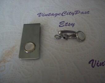 Vintage Mans Silver Tie Clips, Mother of Pearl Tie Clip, Tie Clip, Tie Bar