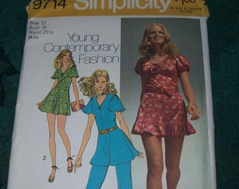 1970's Simplicity Vintage Pattern 9714, Simplicity Sewing Pattern, Vintage Contemporary Pattern, Short Dress Pattern, Sewing Supplies,