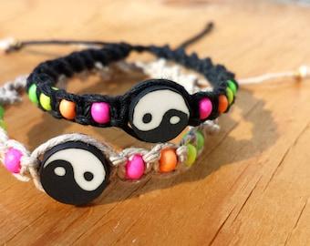 Neon Hemp Friendship Bracelets - Ying Yang 90's Inspired Black and White Hemp Bracelets
