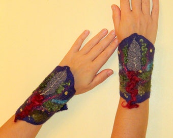 Felted arm warmers violet purple Moss Green olive green floral Fingerless gloves marsala