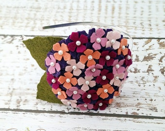 Hydrangea Headband, Pink, Coral, Purple, Violet, English Rose, Felt Flower Headband, Wool Felt, Toddler, Girls, Teen, Women,Garland Headband