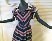 Vintage 1950s Rockabilly Sailor Dress 50s New Look Chevron Stripe Nautical Day Dress Red White Blue Striped Patriotic Bombshell Size large