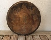 Vintage Etched Egyptian Copper and Brass Plate