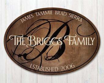 Wood Personalized Family Established Sign, Oval Personalized Family Name Sign, Last Name Sign with Established Date & Monogram, 2 Sizes