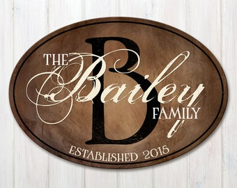 Wood Family Established Sign, Oval Personalized Family Name Sign, Wood Last Name Plaque with Established Date & Monogram, 2 Sizes