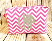 Hot Pink Personalized Chevron Make Up Bag