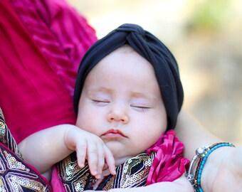 Black Fashion Turban ,Newborn Turban Hat ,  Baby Turban Headwrap  , Newborn Photo Prop