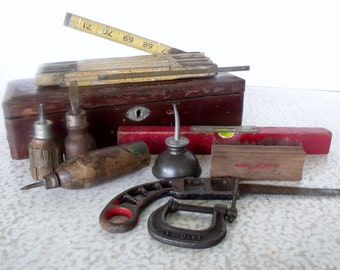 9 Small Vintage Tools in Wood Box - Level Rule Clamp Saw Oil Can Screwdrivers Brush Awl