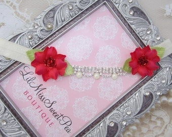 Ivory and Pearls with Red Silk Flowers, this boho headband fits all ages, birthday headband, photo prop, newborn girl, flower headband