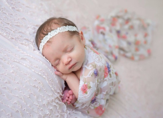 Newborn Floral Stretch Lace Baby Swaddle Wrap AND/OR Headband in White Embroidered Rose Design for newborns by Lil Miss Sweet Pea