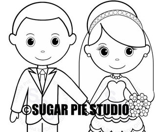 personalized printable bride groom wedding party favor childrens kids coloring page activity pdf or jpeg file - Bride And Groom Coloring Pages