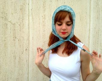 Vintage blue nylon headscarf