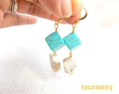 Turquoise Cube Dangle Earrings, White Turquoise Slab Earrings, Dangle Earrings, White and Blue Earrings,