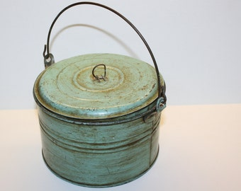 Vintage Metal Bucket - Robin's Egg Blue - Storage - Organization