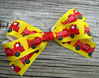 Fire truck hair bow, red fire engine hairbow