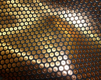 "Leather 8""x10"" Metallic Copper DOTS on BLACK Cowhide 2.5 oz / 1mm PeggySueAlso™"