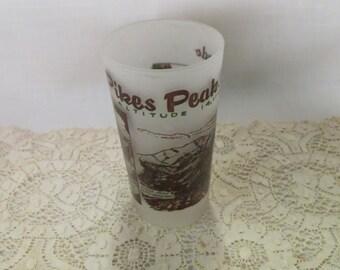 Pikes Peak Souvenir Tumbler Glass Vintage Frosted Glass Colorado Kitchen Ware Kitchenware