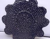Dark Blue Trivet, Ceramic Lace Hot Pad, Dark Blue Pot Holder, Traditional Lace Home decor, Blue Pottery Table Decor, Lace Trivet Pot Holder