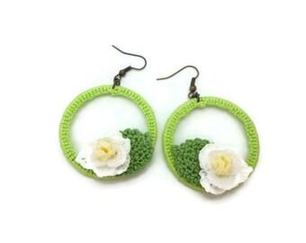 Shabby Chic Magnolia Flower Earrings, Green Hoop Earrings, Country Chic Crochet Magnolia Jewelry, Crochet Flower Jewelry, Gift for Her