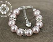 Infant Jewelry SWAROVSKI Pink Pearl Baby bracelet, Baptism, christening, baby shower gift, baby girl Jewellery .