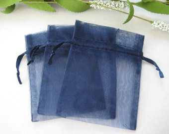 3 x 4 Navy Blue Organza Bags for Party Favors, Baby Shower Favors, Gift Bags, Saches, Wedding Favor, Jewelry, 10 pcs
