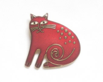 Laurel Burch KESHIRE CAT Pendant Brooch - Red - Collectible - Retired Design and Discontinued Jewelry Line - Vintage