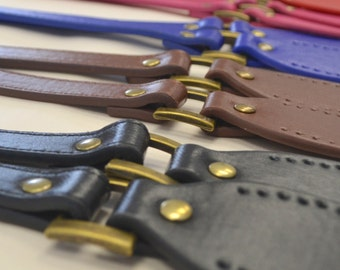 Bag Handle Hinged Faux Leather 23 inch Sew On - Lots of Colours!