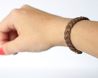 Braided Leather Bracelet / Earthen