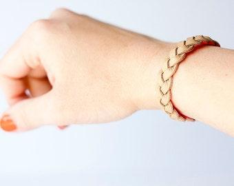Braided Leather Bracelet / Reversible / Tan & Hot Pink