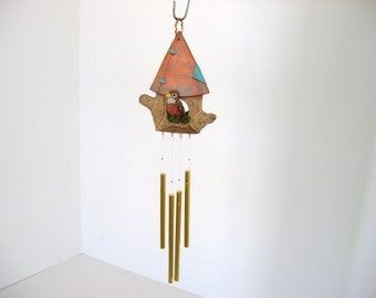 Wind chime,  ceramic wind chime,  birdhouse and bird chime