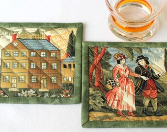 Quilted Coasters, House Coasters, Green Brown Coasters, Country Coasters, Renaissance Style, Quiltsy Handmade