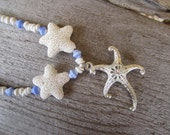 silver starfish necklace, ocean themed jewelry, puka shell necklace, white and blue necklace, hawaiian made jewelry