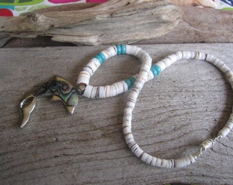 abalone dolphin necklace, heishi shell jewelry, beach jewelry, Hawaiian resort jewelry, handmade on Molokai