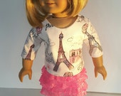 18 Inch Doll Clothes PARIS ruffle SKIRT and Eiffel Tower Top Glittering